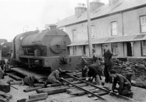 The loco arrives at Harbour Station in 1957
