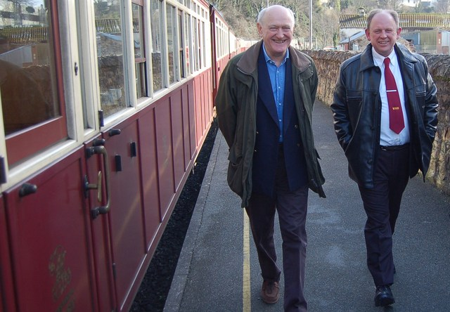 Ffestiniog and Welsh Highland Chairman John Prideaux and Welsh Highland Heritage Railway Chairman Martyn Owen arriving at Caernarfon after discussions on inter-company collaboration held on the first public service train to run from Porthmadog to Caernarfon on Saturday February 19th, 2011.