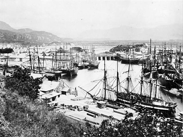 A busy Porthmadog Harbour in the 1870's