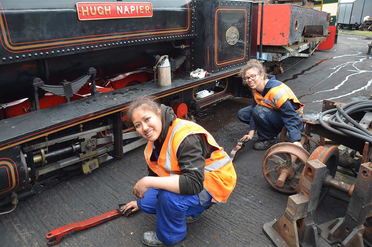Young trainees working at Boston Lodge