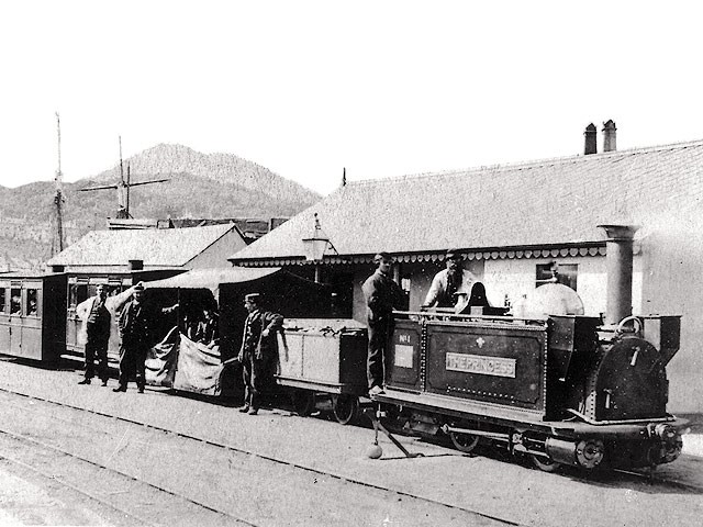 George England locomotive 'The Princess' stands at Porthmadog Harbour Station in the 1880's